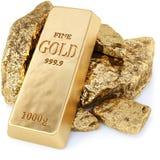 Goldbarren und Goldnuggets stock abbildung