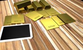Goldbarrengolde auf dem hölzernen Hintergrund Stockfoto