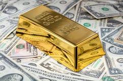 Goldbarrennahaufnahme Lizenzfreies Stockfoto