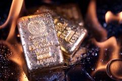 goldbars пламени Стоковые Фото
