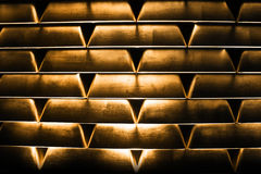 Goldbars empilados Fotografía de archivo libre de regalías