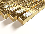 Goldbars. Golden bars tiled on white background Stock Image