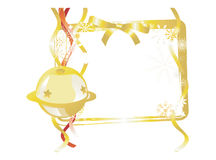 GoldBellAndRibbonGiftTag Foto de Stock Royalty Free
