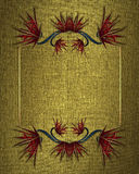 Goldbeschaffenheit mit einem Blumenrahmen Element für Entwurf Schablone für Entwurf kopieren Sie Raum für Anzeigenbroschüre oder  Lizenzfreies Stockbild