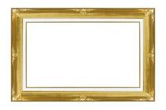 Goldbilderrahmen-Weißhintergrund Stockbild