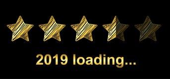 Goldbläser-Lasts-Stange 2019 Erwartung des Feiertags - Vektor lizenzfreie abbildung