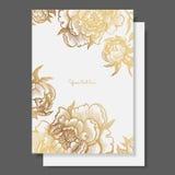 Goldblumen und Blätter von Pfingstrosen Aufwändiger Dekor für Einladungen, Heiratsgrußkarten, Zertifikat, Aufkleber lizenzfreie abbildung