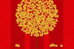 Goldblumenbaum auf dem roten Hintergrund Entwurf für Chinesisches Neujahrsfest lizenzfreie abbildung