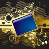 Goldblumenfahne und -hintergrund Lizenzfreie Stockfotos