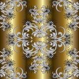 Goldblumenhand gezeichnetes nahtloses Muster Lizenzfreies Stockbild