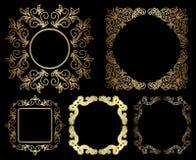 Goldblumenweinleserahmen - Satz Stockfotografie
