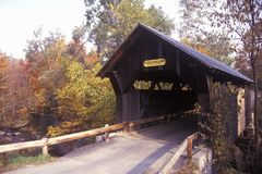 The Goldbrook Covered Bridge in Stowe, Vermont during the winter Stock Photo