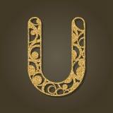 Goldbuchstabe U für Laser-Ausschnitt Englisches Alphabet Stockfoto
