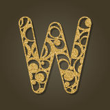 Goldbuchstabe W für Laser-Ausschnitt Englisches Alphabet Lizenzfreie Stockfotos