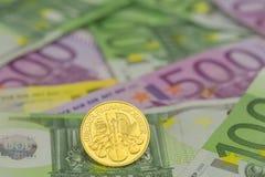 Goldcoins sedlar Fotografering för Bildbyråer