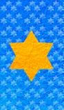 Golddavidsstern Blauhintergrund Vertikales Format für intelligentes Telefon Stockfoto