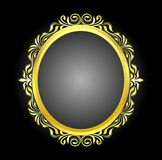 Goldden oval frame floral. Goldden frame oval floral color yellow dot background black screen Royalty Free Stock Photography