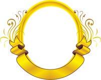 Goldden oval frame floral. Ribbon light  logo design png Royalty Free Stock Photography
