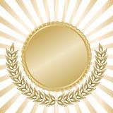Golddichtung mit Strahlen Stockbild