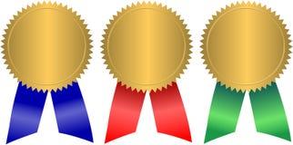Golddichtungen mit Farbbändern/ENV Lizenzfreie Stockfotos