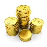 Golddollar prägt 3d Lizenzfreie Stockbilder