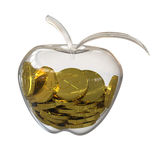 Golddollar prägt innerhalb eines Glases des Apfels Stockbilder