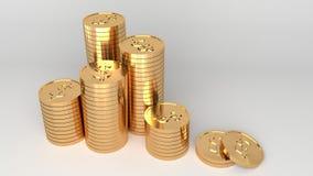 Golddollarmünzen gestapelt auf weißem Hintergrund Stockfotos