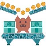 Golddollarmünzen rollen zu einem Schweinsparschwein Stockbilder