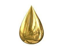 GoldDrop. Reflective Gold Drop Royalty Free Stock Photography