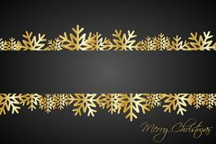 Golded christmas snowflakes background with free space Imagen de archivo