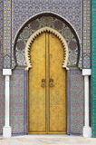 Golded door of Royal Palace in Fes Stock Image