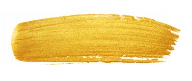 Golded paint brush stroke. Glitter gold color smear stain on white background. Gold stroke banner with glossy texture for royalty free stock photo