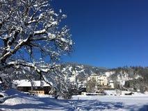 Goldegg jezioro i kasztel, Austria Zdjęcia Royalty Free