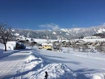 Goldegg, Oostenrijk in de Winter Stock Fotografie