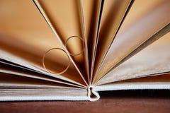 Goldeheringe in einem Buch eigenhändig gemacht von den natürlichen Materialien Lizenzfreie Stockfotos