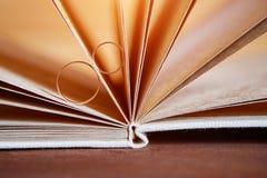 Goldeheringe in einem Buch eigenhändig gemacht von den natürlichen Materialien Stockfoto
