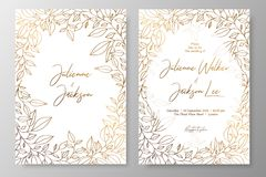Goldeinladung mit Rahmen von Blättern Gold kardiert die Schablonen für Abwehr das Datum und heiratet einlädt, Grußkarten, Postkar lizenzfreie abbildung