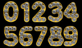 Golden 0 - 9 numerals incrusted with diamonds Royalty Free Stock Photography