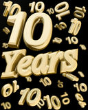 Golden 10 years anniversary. 10 years anniversary word with bunch of number  10 falling at the back 3d illustration Stock Images