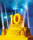 Golden 10 years anniversary against galaxy Royalty Free Stock Photo