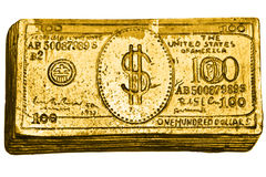 Golden 100-dollar bill. Isolated over white Stock Photo