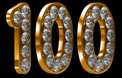 Golden 100 numeral incrusted with diamonds Royalty Free Stock Images