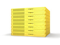 Golden 19inch Server Stack. 3D rendered Illustration. Isolated on white Vector Illustration