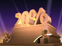 Golden 20%. 3d rendered illustration of a golden number - filmstyle royalty free illustration