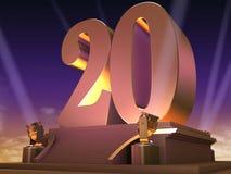 Golden 20 - film style. 3d rendered illustration of a golden number on a platform Vector Illustration
