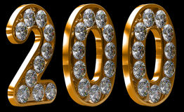 Golden 200 numeral incrusted with diamonds Stock Images