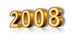 Golden 2008 Text. 3D gold colored text of year 2008 representation Royalty Free Stock Photo