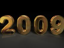 Golden 2009. 3D golden numerical 2009, isolated on a black background Royalty Free Stock Images