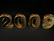Golden 2009 Angled. 3D golden numerical 2009, tilted forward, isolated on a black background royalty free illustration