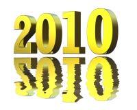 Golden 2010. 3D rendering of golden 2010 with reflection Stock Illustration